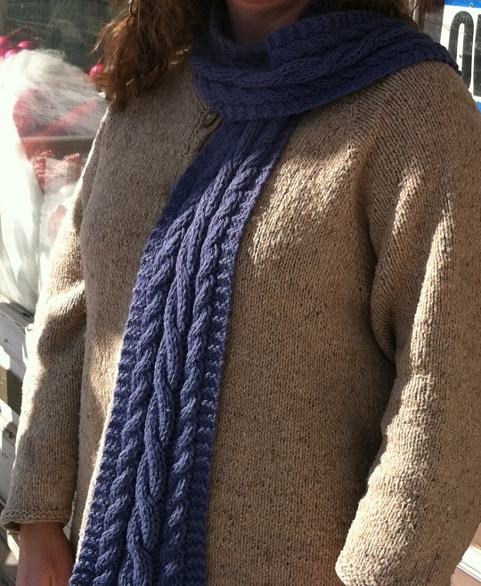 Easy Cabled Scarf and Going On and On about the Cold/Snow