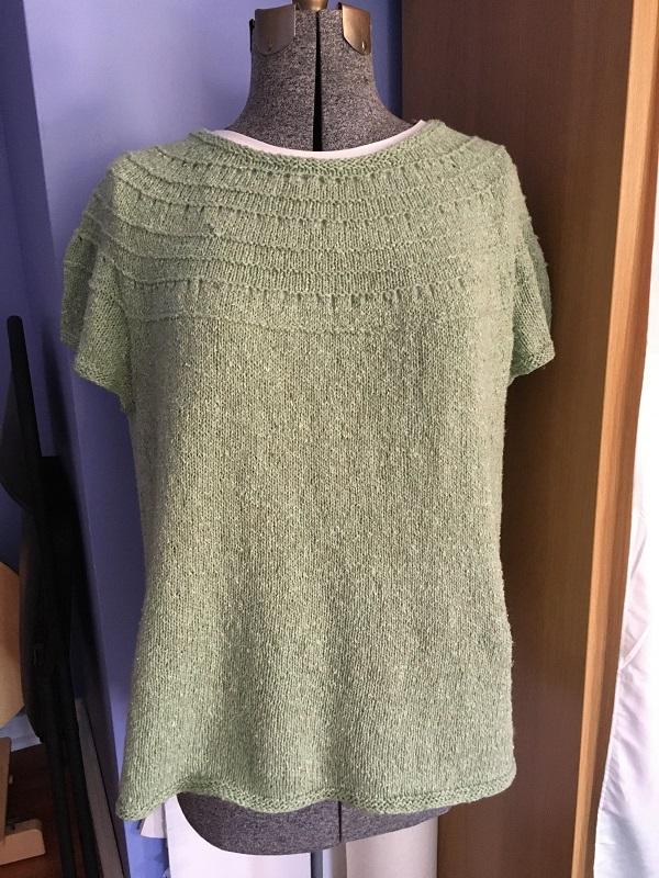 Finished Derecho knitting pattern by Alison Green using Berroco Remix Light yarn.
