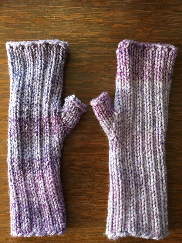 Maine Morning Mitts knitted pattern by Clara Parkes made with Cascase 220 Superwash Aran Splatter yarn.